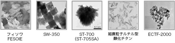 様々な形状の粒子